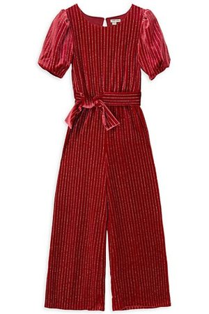 HABITUAL Girl's Sparkle Pinstripe Jumpsuit