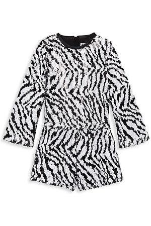 Mia Girl's Sequin Embellished Zebra Romper