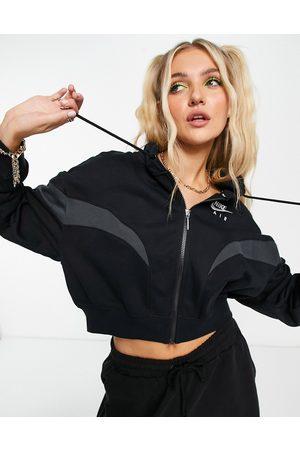 Nike Air cropped zip thru fleece hoodie in