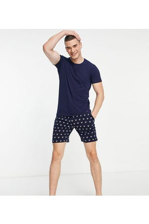 Lyle & Scott Campbell large back logo t-shirt & all over printed shorts set in navy