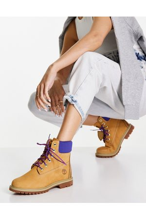 Timberland 6 inch Heritage cupsole boots in wheat tan/purple