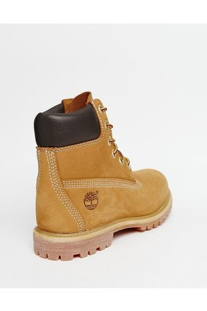 Timberland 6 inch premium lace up flat boots in wheat -Neutral