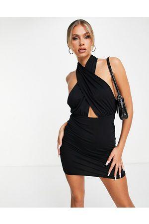 ASOS Halter cross front mini dress in