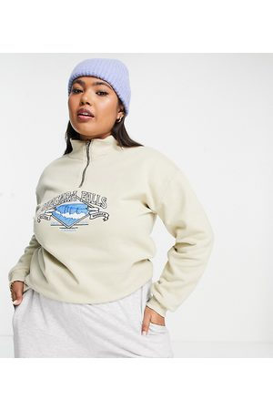 Daisy Street Relaxed funnel neck zip sweatshirt with niagara falls graphic-Neutral