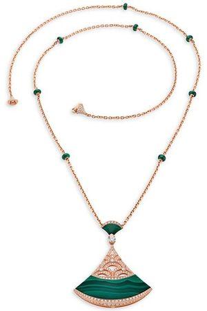 Bvlgari Divas' Dream 18K Rose , Malachite & Diamond Openwork Pendant Necklace
