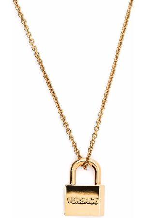VERSACE Logo-engraved padlock pendant necklace