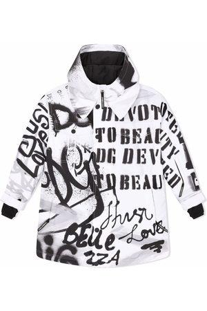 Dolce & Gabbana Graffiti-print hooded shirt coat