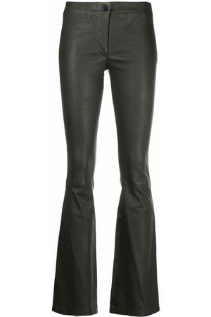 arma leder Women Leather Pants - Elasticated-waist leather flared trousers