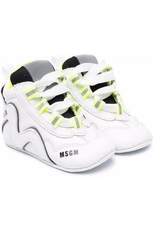 Msgm Logo-print leather trainers