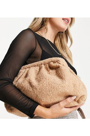 Glamorous Women Clutches - Exclusive oversized slouchy pillow clutch bag in teddy