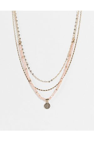 Liars & Lovers Women Necklaces - Chippings and coin pendant choker multirow necklace in pink and