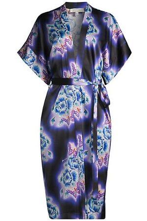 FLEUR DU MAL Electric Butterfly Silk Robe