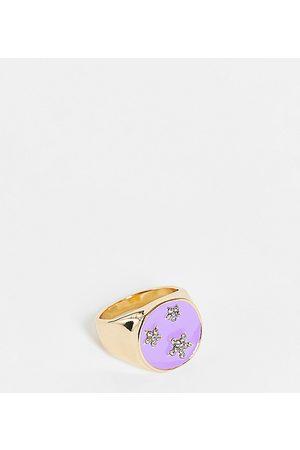 DesignB London Ring with star motif in bright enamel