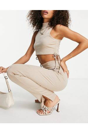 I saw it first Rib tie side crop top & trousers in stone-Neutral