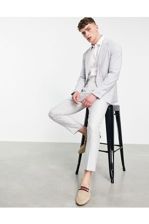 ASOS Men Blazers - Soft tailored skinny suit jacket in light blue pin stripe