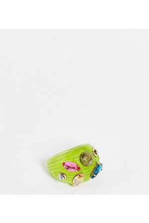 DesignB London DesignB Curve ridged resin ring with crystal embellishment in lime
