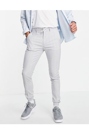 ASOS Soft tailored skinny suit trousers in light blue pin stripe trouser with drawcord waist