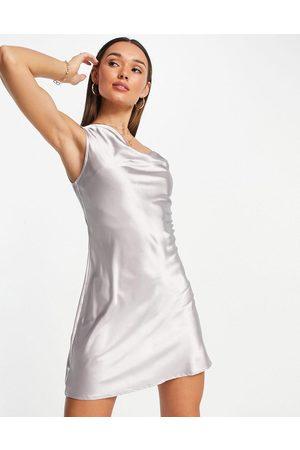 Flounce London Women Asymmetrical Dresses - Satin mini cami dress with asymmetric strap detail