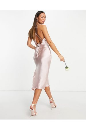 ASOS Bridesmaid cami midi slip dress in high shine satin with lace up back in blush