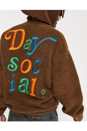 ASOS ASOS Daysocial oversized hoodie in teddy borg with large back logo colour pop embroidery in