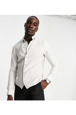 French Connection Men Waistcoats - Tall linen slim fit waistcoat-Neutral