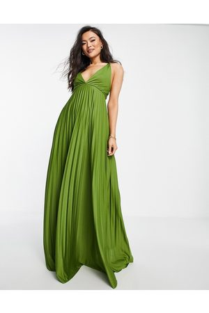 ASOS Plunge halter cross back self tie pleated maxi dress in Olive