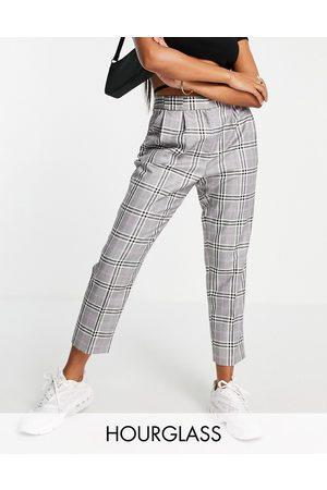 ASOS Hourglass smart tapered trouser in purple pow check-Multi