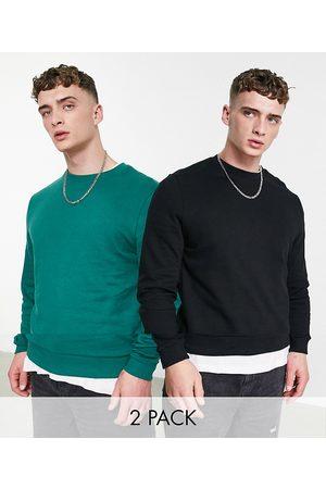 ASOS Sweatshirt in green/black 2 pack-Multi