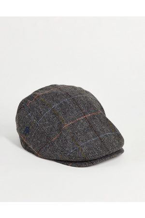 French Connection Check flat cap in navy
