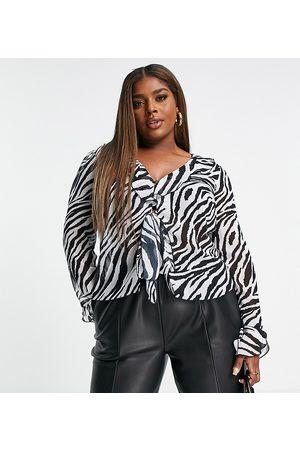 ASOS Women Blouses - ASOS DESIGN Curve 90's ruffle edge blouse with tie front in mono animal-Multi