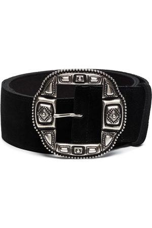 ETRO Silver-tone buckle suede belt