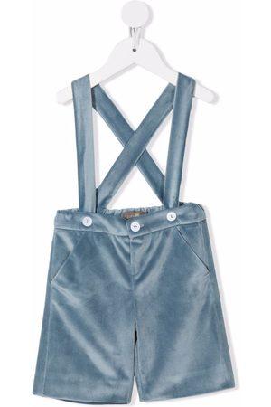 Little Bear Brace-strap velvet shorts