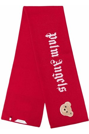 Palm Angels Kids Boys Scarves - Bear-motif wool-knit scarf