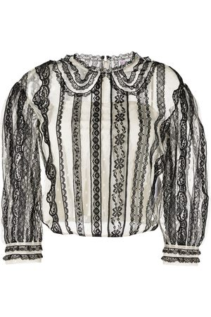 RED Valentino Floral-lace semi-sheer cropped blouse