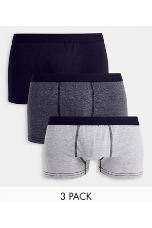New Look Contrast waistband trunks in mono grey-Multi