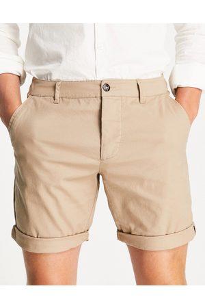 ASOS Slim chino shorts in stone-Neutral