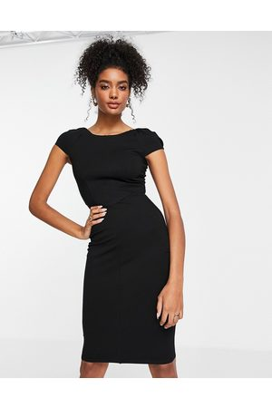 Closet Puff shoulder pencil dress with bodice detail in