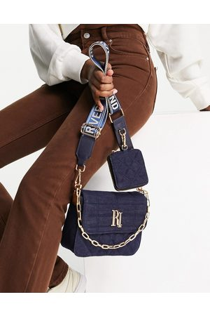 River Island Quilted denim double cross body bag in navy