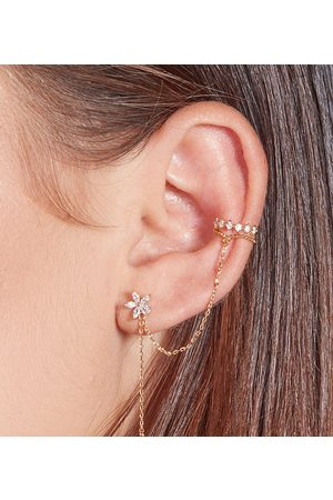 With Bling Flower earring and lace cuff set for left ear in plate