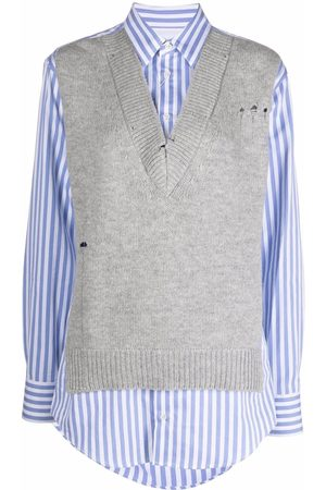 Maison Margiela Women Camisoles - Distressed knitted-vest layered shirt