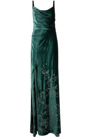 Marchesa Notte Floral-embroidered velvet dress