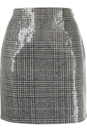 Twin-Set Sequin-embellished check-print mini skirt