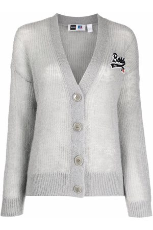 HUGO BOSS Logo-patch ribbed-knit cardigan