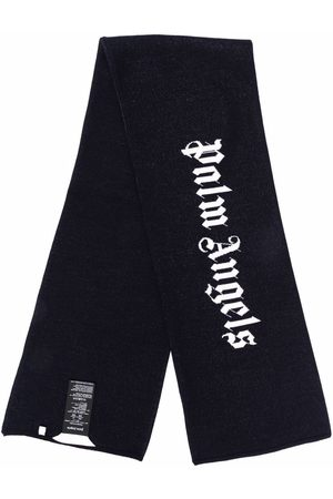 Palm Angels Logo-print knitted scarf