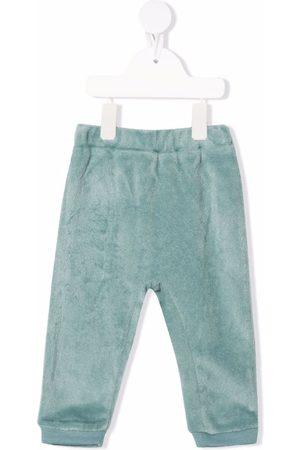 LA STUPENDERIA Velvet-effect elasticated-waist trousers