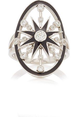 COLETTE Women Rings - Women's Danvou Enameled 18K White Gold Diamond Ring
