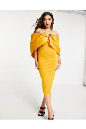 ASOS Bardot draped sleeve midi pencil dress in mustard-Multi