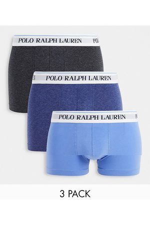 Polo Ralph Lauren 3 pack trunks with text logo waistband in navy marl/
