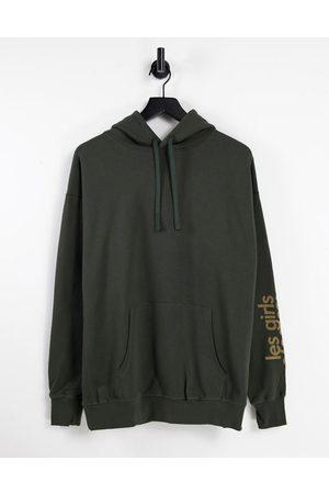 Les Girls Les Boys Oversized hoodie in deep khaki