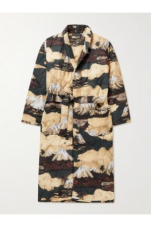 Desmond & Dempsey Belted Quilted Printed Cotton Robe